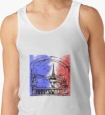 Paris France Eiffel Tower Eiffel Tower painting gift flag national colors Men's Tank Top