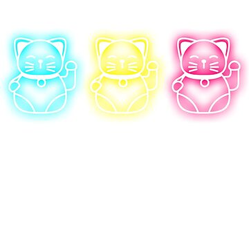 Neon Party Lucky Cat Theme Party Shirt Maneki-neko T-Shirt by noirty