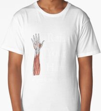 Raise Your Hand if You Love Science—Dissection (Dark theme) Long T-Shirt