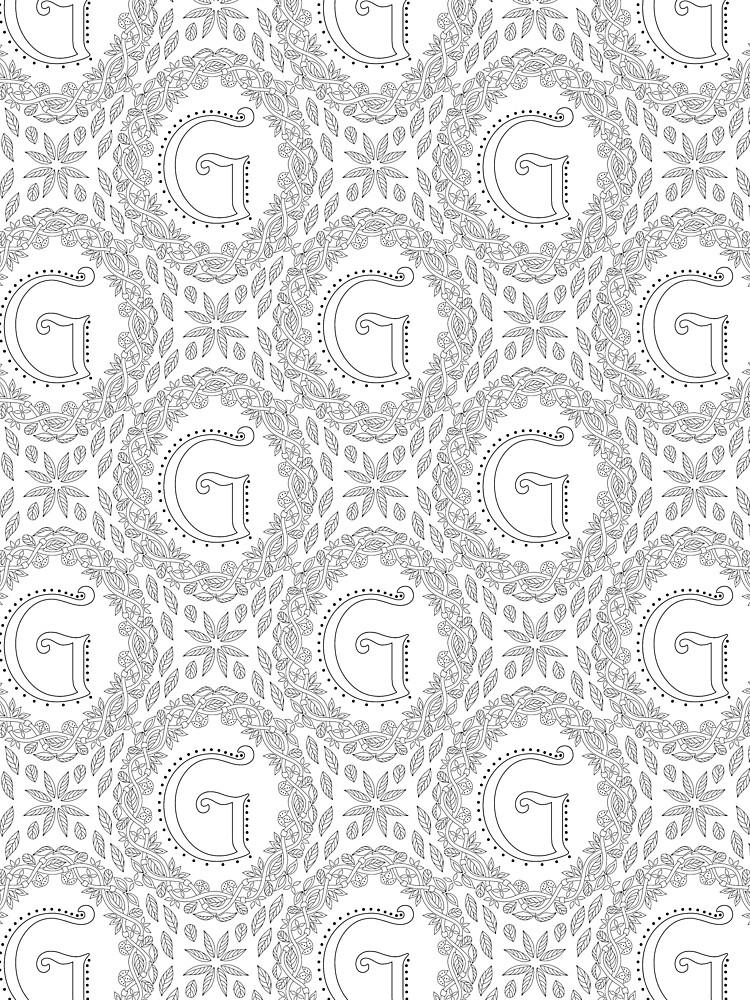 Letter G Black And White Wreath Monogram Initial by theartofvikki