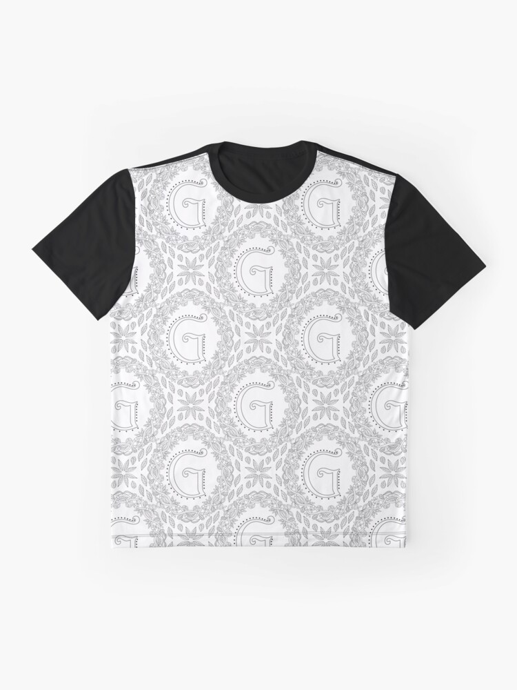 Alternate view of Letter G Black And White Wreath Monogram Initial Graphic T-Shirt