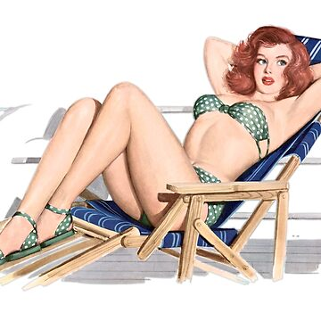 Sexy redhead pinup girl in bikini on deck chair by headpossum