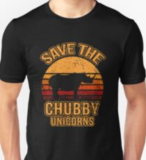 Save The Chubby Unicorns, Rhino, Gift, Retro, Vintage, Rhinocerus Unisex T-Shirt