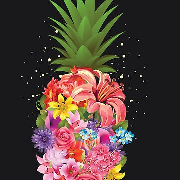 Cute Tropical Pineapple Flowers Aloha Hawaii Art Gift by NBRetail