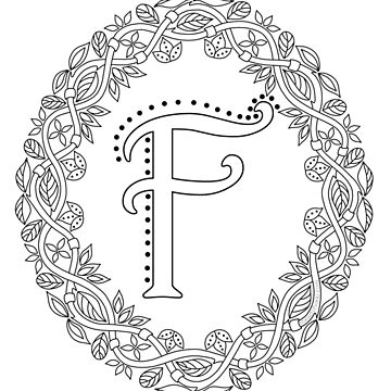 Letter F Black And White Wreath Monogram Initial by theartofvikki
