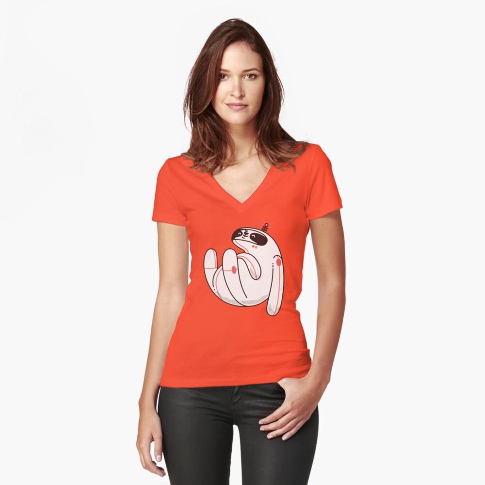 Faule Space Sloth Tailliertes T-Shirt mit V-Ausschnitt