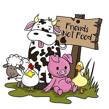 Friends Not Food Animal Rights Pig Cow present by Moonpie90