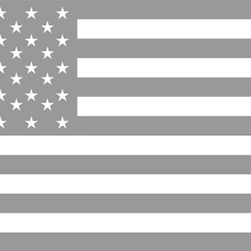 American Flag, STARS & STRIPES, USA, America, Grey on white by TOMSREDBUBBLE