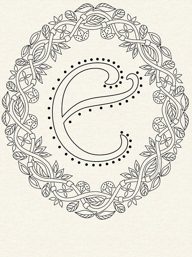 Letter E Black And White Wreath Monogram Initial by theartofvikki