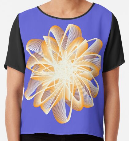 Abstract flower in orange Chiffon Top