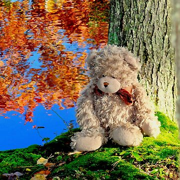 Teddy bear reclining against an autumn tree by BBrightman