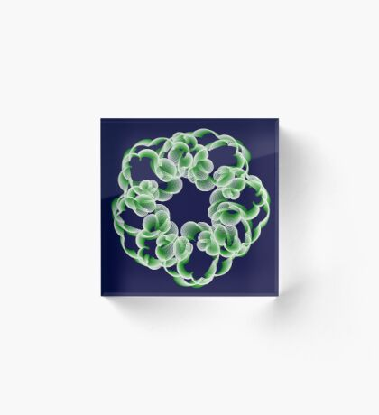 Spirals with Green and White Acrylic Block