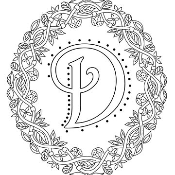 Letter D Black And White Wreath Monogram Initial by theartofvikki
