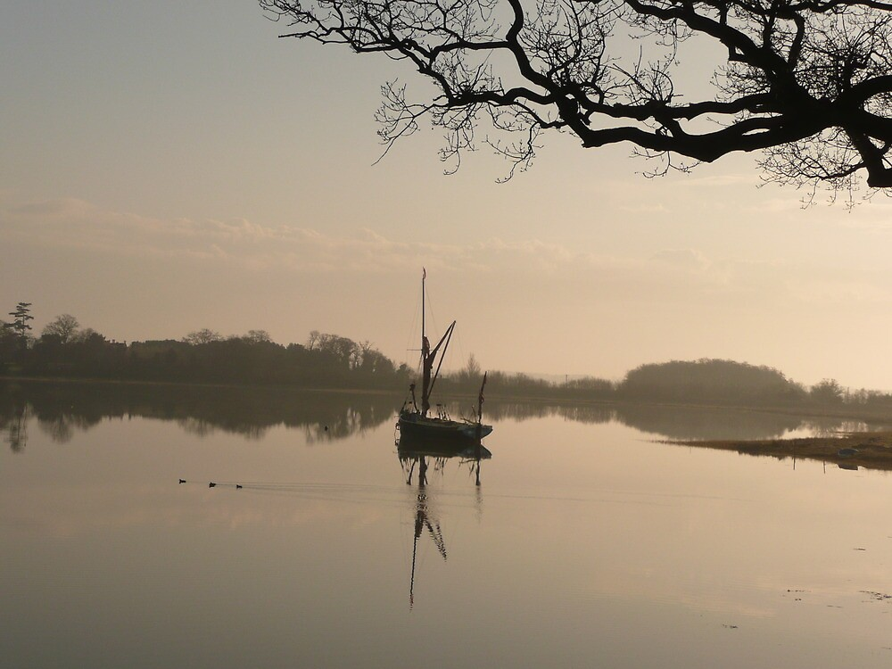 Mystical Light, Suffolk Barge at Iken  by Angela Wiley