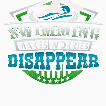Swimming Makes Worries Disappear Athlete Gift by orangepieces