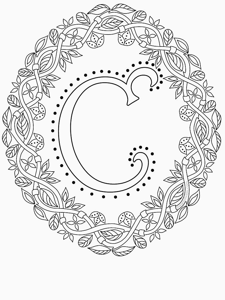 Letter C Black And White Wreath Monogram Initial by theartofvikki