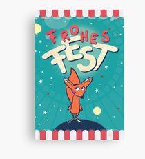 Fuchs im Weltall - Frohes Fest Leinwanddruck