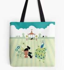 Scotties and Peacocks – Copyright © Bonnie Portraits  Tote Bag