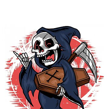 Skeleton Grim Reaper With Coffin And Sickle by brodienochie