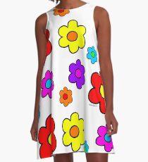 Pop Flower White A-Line Dress