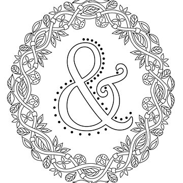 Letter & Black And White Wreath Ampersand Monogram Initial Sign Symbol by theartofvikki