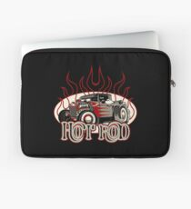 Cartoon retro hot rod with vintage lettering poster Laptop Sleeve