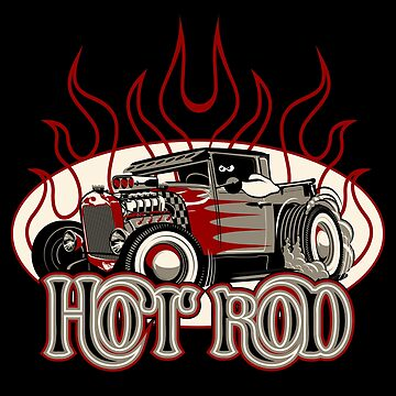 Cartoon retro hot rod with vintage lettering poster by Mechanick