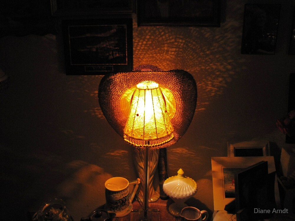 Lamp Shade Series #3....You Can Leave Your Hat On by Diane Arndt