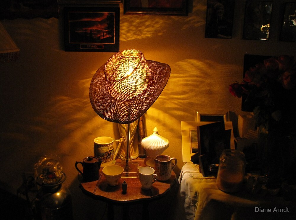 Lamp Shade Series #4...Anywhere Your Hat Lands by Diane Arndt