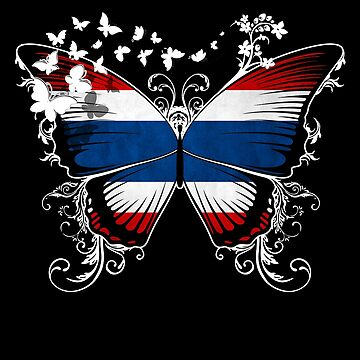 Thailand Flag Butterfly Thai National Flag DNA Heritage Roots Gift  by nikolayjs