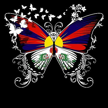 Tibet Flag Butterfly Tibetan National Flag DNA Heritage Roots Gift  by nikolayjs