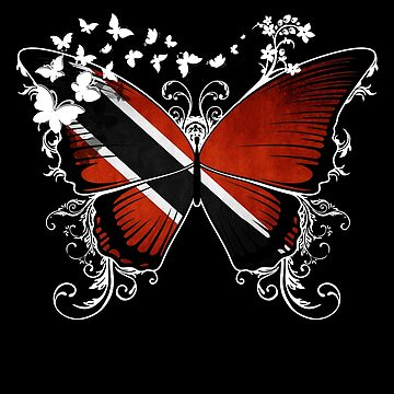 Trinidad Flag Butterfly Trinidadian National Flag DNA Heritage Roots Gift  by nikolayjs