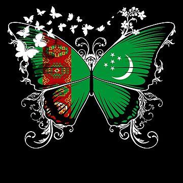 Turkmenistan Flag Butterfly Turkmen National Flag DNA Heritage Roots Gift  by nikolayjs
