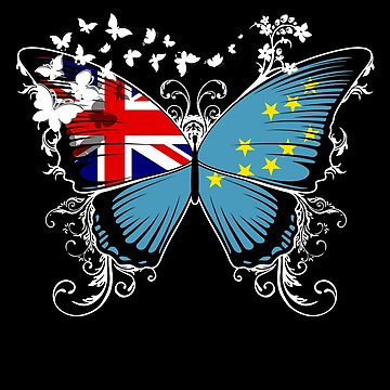 Tuvalu Flag Butterfly Tuvaluan National Flag DNA Heritage Roots Gift  by nikolayjs