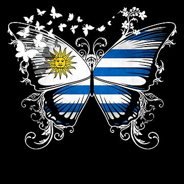Uruguay Flag Butterfly Uruguayan National Flag DNA Heritage Roots Gift  by nikolayjs