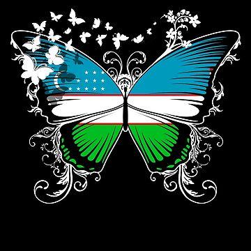 Uzbekistan Flag Butterfly Uzbek National Flag DNA Heritage Roots Gift  by nikolayjs