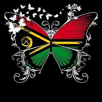 Vanuatu Flag Butterfly Ni-Vanuatu National Flag DNA Heritage Roots Gift  by nikolayjs