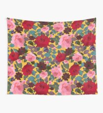 Vintage Red Pink Roses and Chocalate Cosmos Flower Wall Tapestry