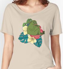 Apu Apustaja and Groyper Pepe The Frog frens Hawaiian Shirt with red Hibiscus on Green background from Kekistan HD HIGH QUALITY Women's Relaxed Fit T-Shirt