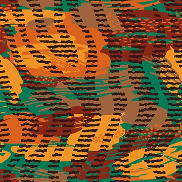 Abstract orange jade brown safari geometrical print by Kicksdesign