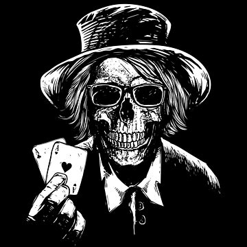 Two Aces Skull cool tee Gift for Poker Players by peter2art