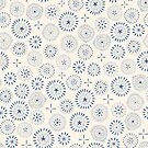 indigo stamp style circles by Stacey Oldham