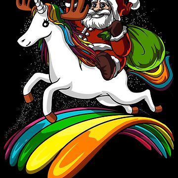 Santa Riding Unicorn Magical Christmas by underheaven