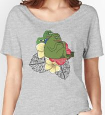 Apu Apustaja and Groyper Pepe The Frog frens Hawaiian Shirt with red Hibiscus on White background from Kekistan HD HIGH QUALITY Women's Relaxed Fit T-Shirt