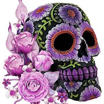 Pink Floral Black Sugar Skull Day Of The Dead by Atteestude