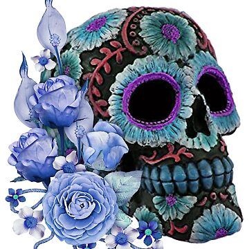 Blue Floral Black Sugar Skull Day Of The Dead by Atteestude