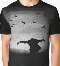 Mann im Flug mit Raben Grafik T-Shirt