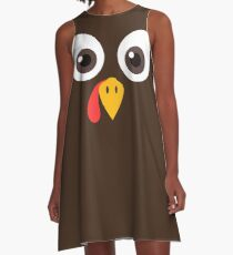 Thanksgiving day Funny Turkey Face T-shirt Men Women A-Line Dress