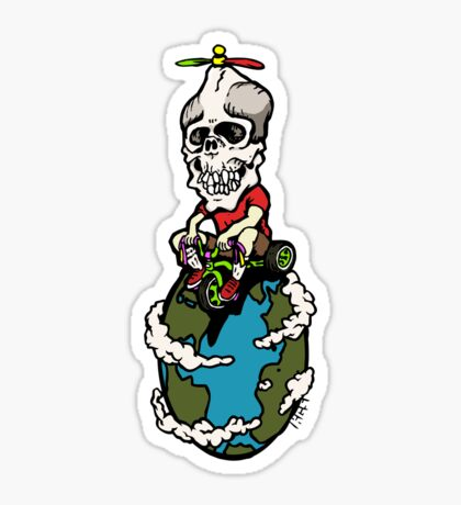 Skull on Wheels Sticker