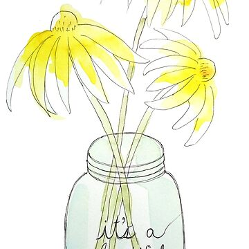 3 yellow daisy ink and watercolor by ColorandColor